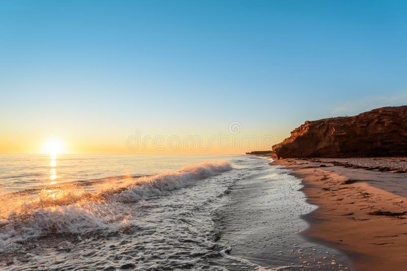 Oceaankust bij de zonsopgang royalty-vrije stock afbeelding