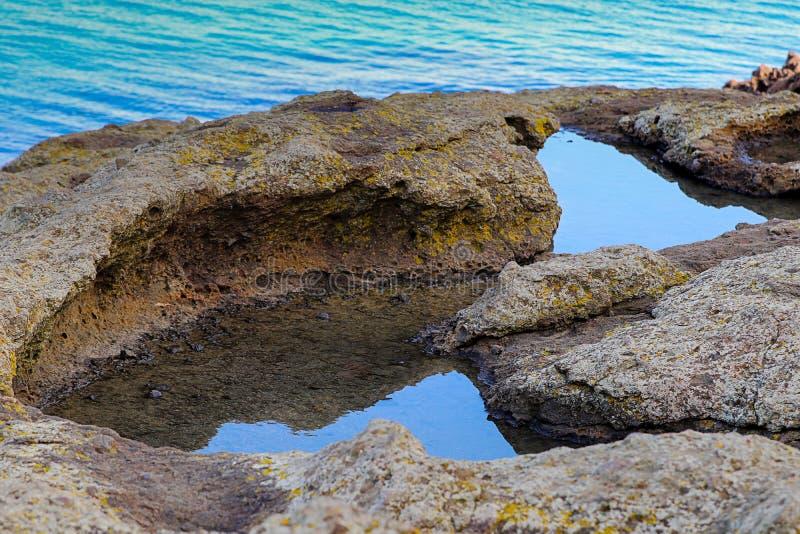 Oceaankust en rotsen, oppervlakte of het ten grondslag liggen van de aan grond of de oceanen stock foto's