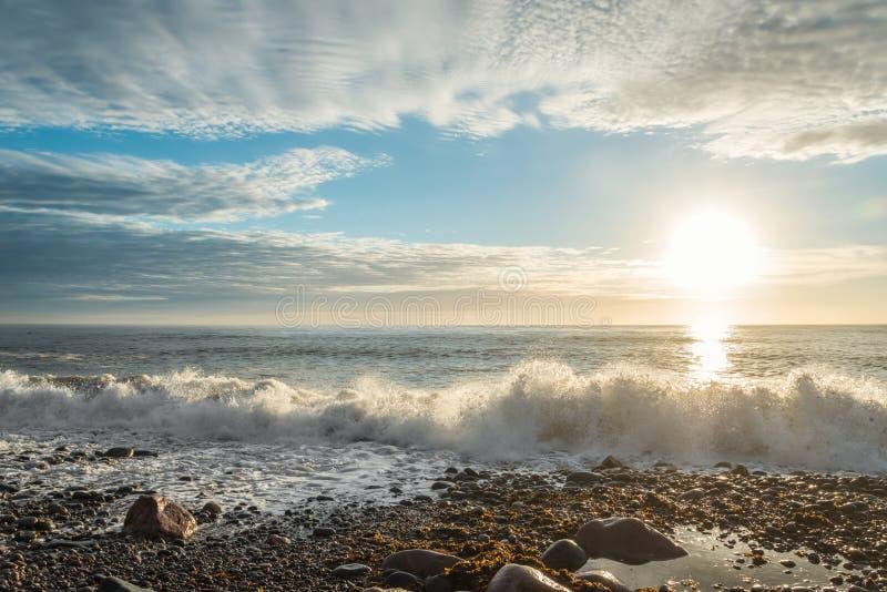 Oceaankust Vuurtoren van San Pedro de Moel stock fotografie