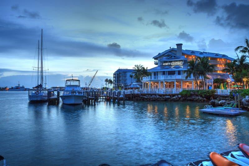 Oceaanmening van bank op het dok in Hyatt Centric Key West royalty-vrije stock foto