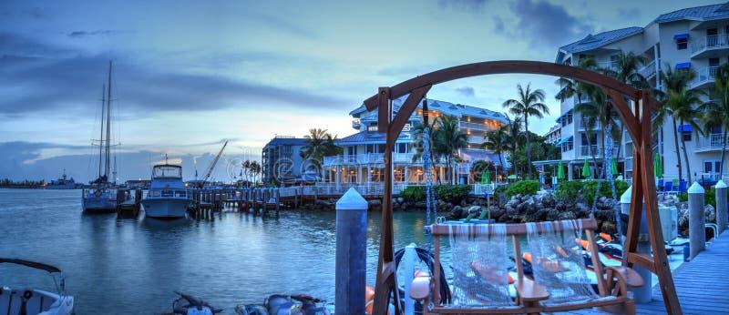 Oceaanmening van bank op het dok in Hyatt Centric Key West royalty-vrije stock foto's