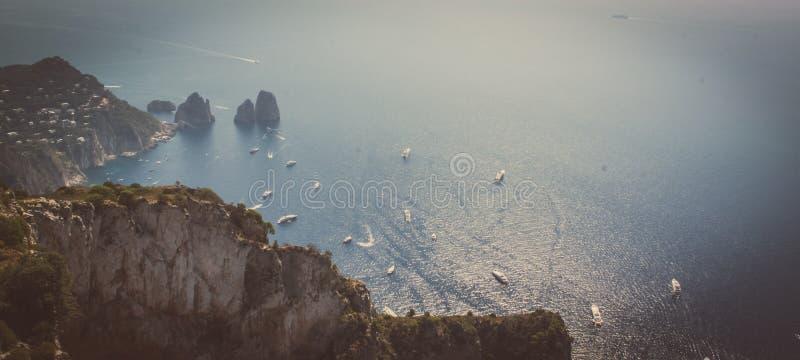 Oceaanmening vanaf de bovenkant van Capri royalty-vrije stock afbeeldingen