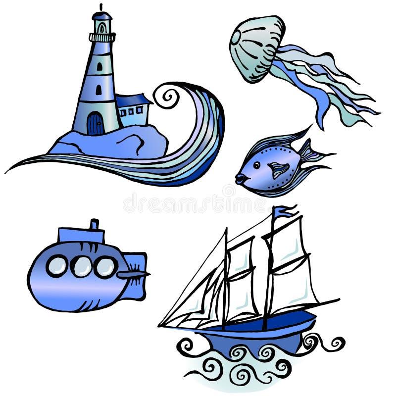 Oceaanthemaillustratie royalty-vrije stock afbeelding
