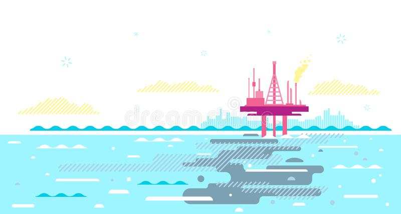 Oceaanverontreiniging van Olieplatform vector illustratie