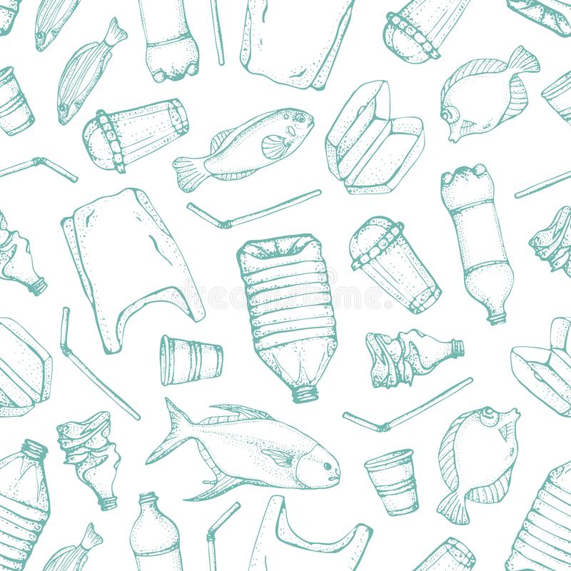 Oceaanverontreinigings naadloos patroon Vector de symboleninzameling van de illustratiehand getrokken krabbel Zak, Fles, Pakket stock illustratie