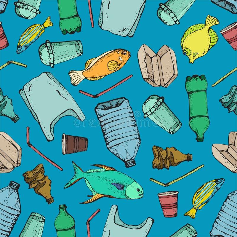 Oceaanverontreinigings naadloos patroon Vector de symboleninzameling van de illustratiehand getrokken krabbel Zak, Fles, Pakket vector illustratie