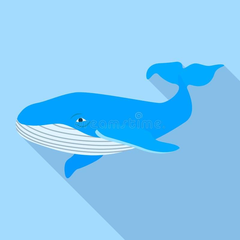 Oceaanwalvispictogram, vlakke stijl stock illustratie