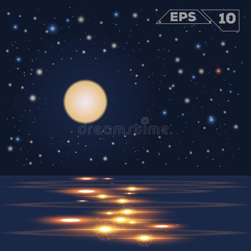 Oceain в луне ночи бесплатная иллюстрация