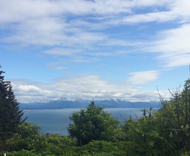 Ocean, śnieżna góra pod niebieskim niebem zdjęcia royalty free