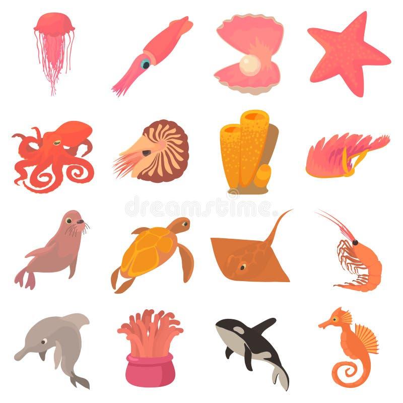 Ocean animals fauna icons set, cartoon style stock illustration