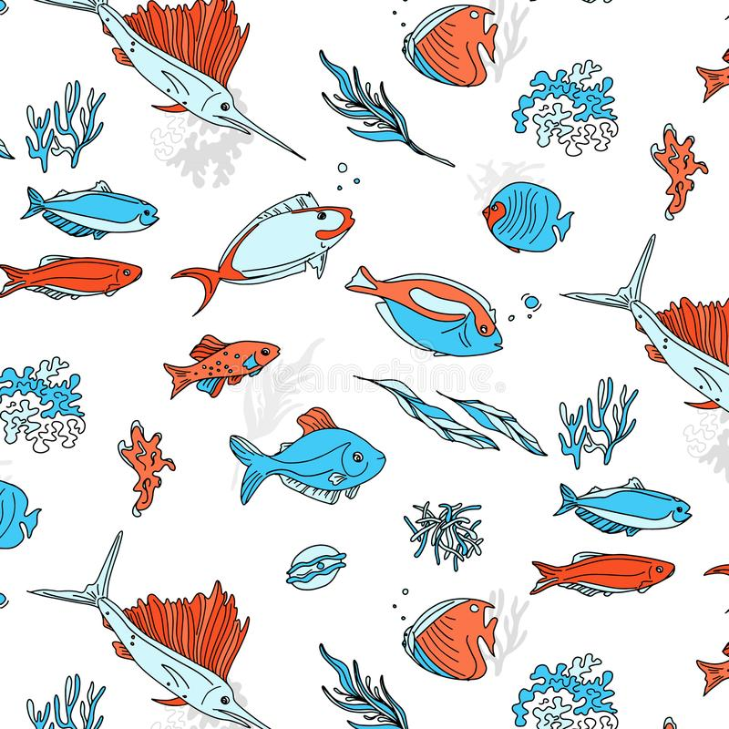 Ocean animals underwater sketch. Monochrome fish line art. Summer tropical food. Deep water illustration for restaurant. Shop. wrap, cloth, advertising stock illustration