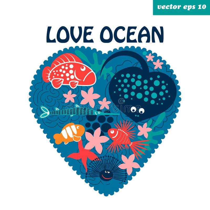 love ocean stock illustration