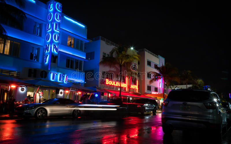 Download Ocean Avenue At Night In Miami Florida USA Editorial Stock Image