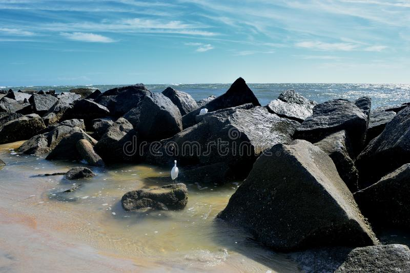 Ocean Beach Jetty Background Florida, USA stock photo