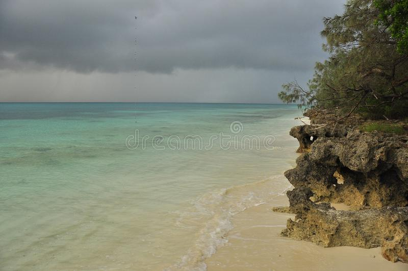 Ocean and beach in Ouvea Island, New Caledonia royalty free stock photo