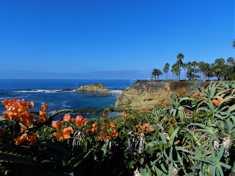 The ocean and beautiful beach in Laguna Beach CA, USA stock image