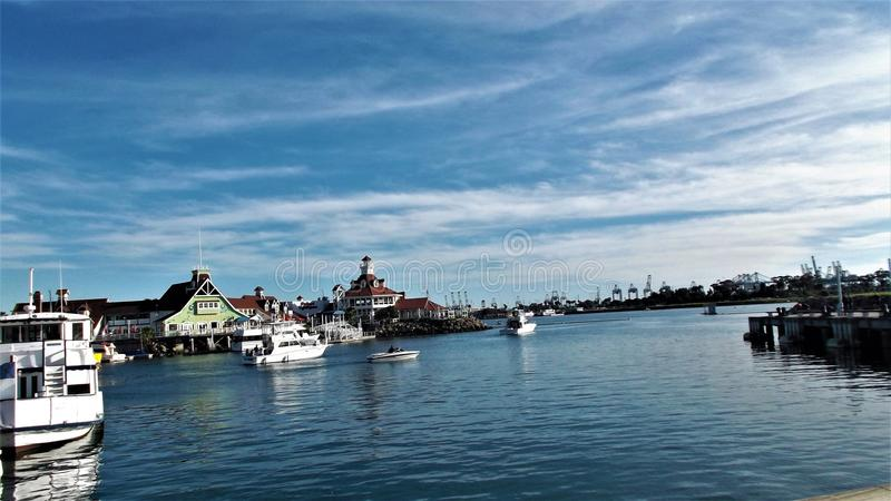 The ocean and beautiful beach in Long Beach CA, USA royalty free stock photography