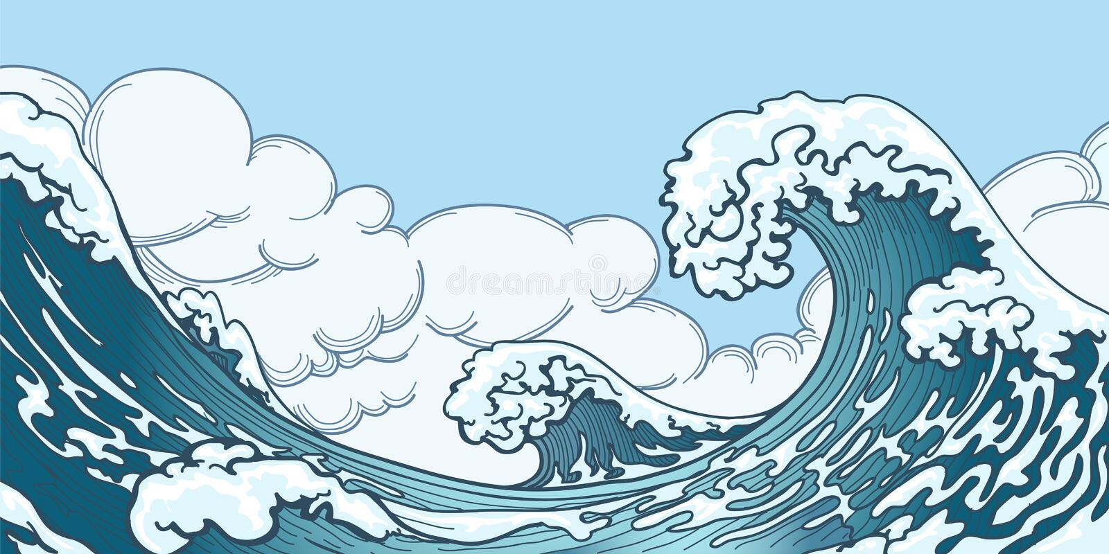 Ocean big wave in Japanese style. Water splash, storm space, weather nature. Hand drawn big wave vector illustration vector illustration
