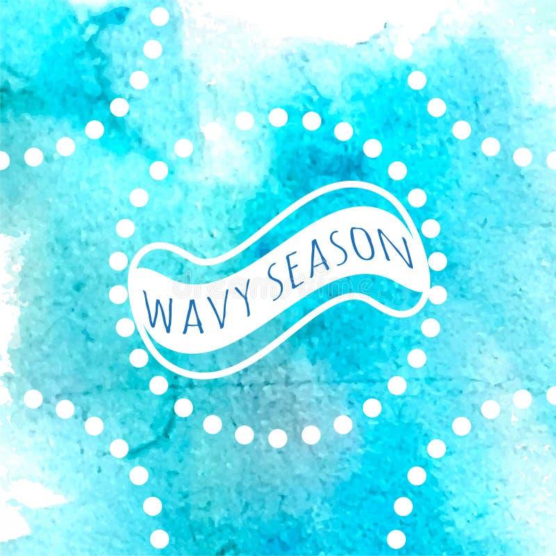Ocean blue watercolor vector illustration