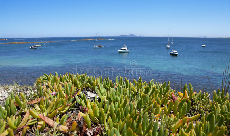 Ocean Boats Travel Port Stephens Australia stock photos