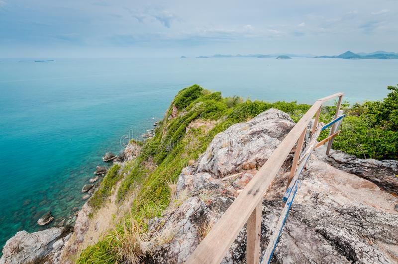 Ocean and cliff from Laem Sing hill scenic point. Ocean and cliff landscape of Laem Sing hill scenic point royalty free stock photography