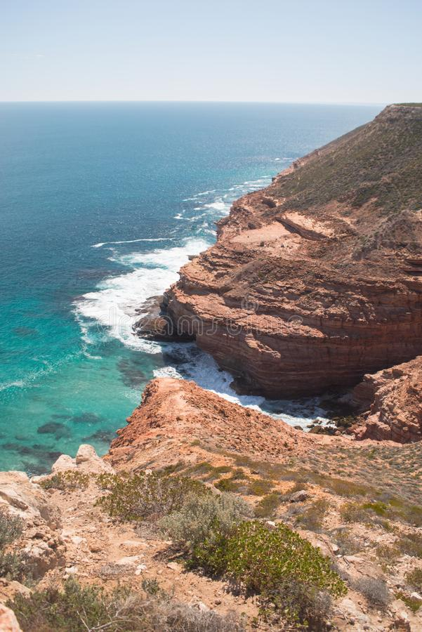 The ocean and cliffs of Kalbarri National Park, WA, Western Australia, Indian Ocean stock images