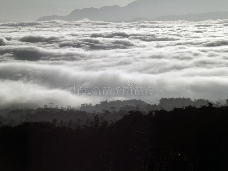 Ocean of clouds at Temanggung Central Java Indonesia. Morning view with ocean of clouds in my village at Temanggung Central Java Indonesia royalty free stock image