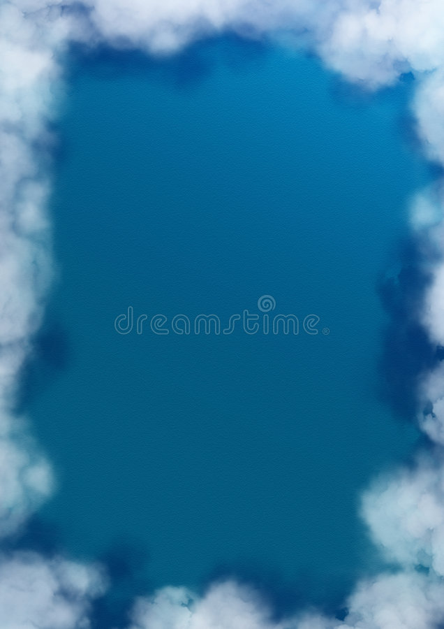 Ocean with cloudy border vector illustration