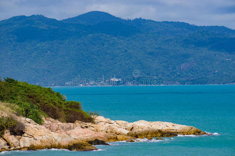 Ocean coast of Ko Samui, rocky beach. stock photo
