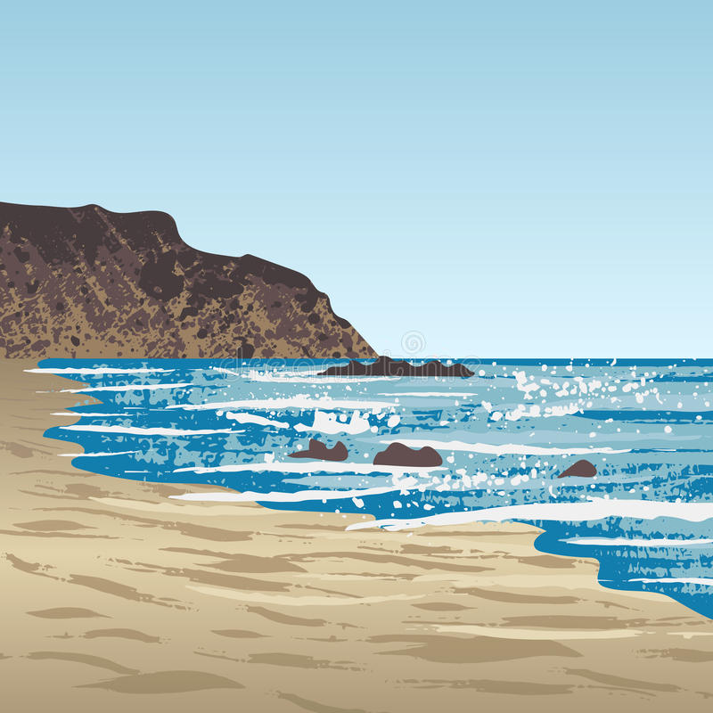 Ocean coast with rock royalty free illustration
