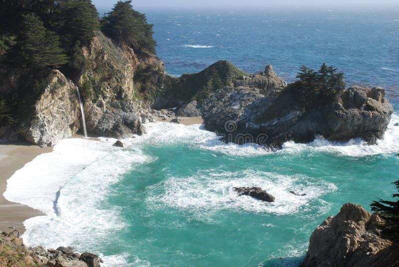 Ocean Coast Waterfall stock image
