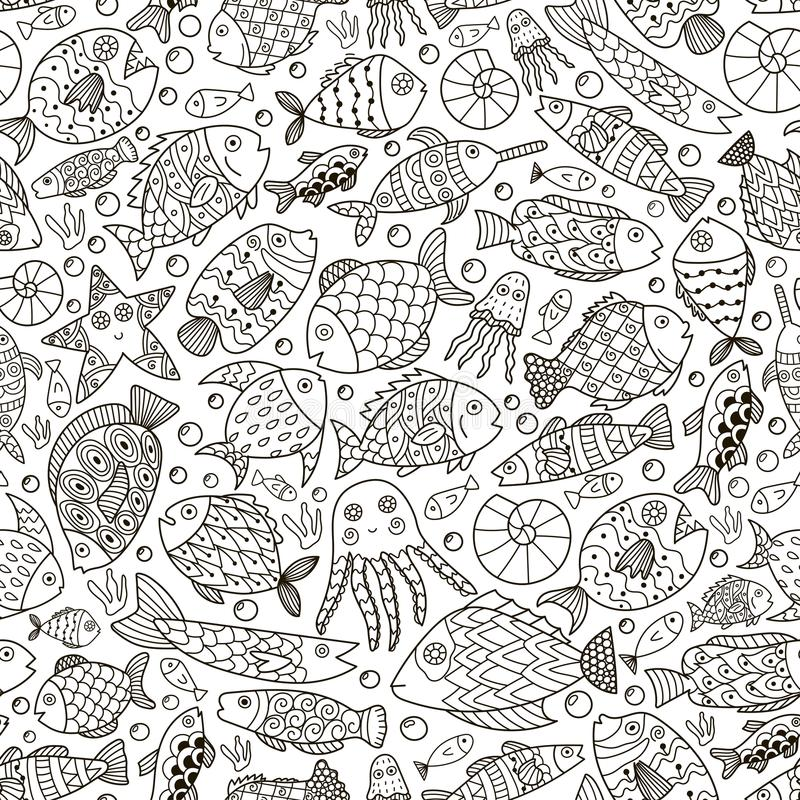 Download Ocean Collection With Doodle Fish For Coloring Book Stock Vector