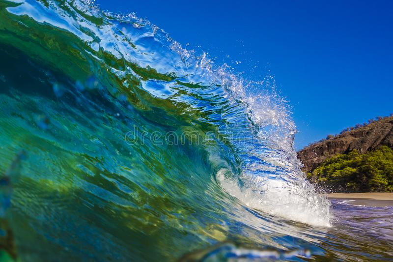 Ocean Wave crest surfing water crushing royalty free stock photo