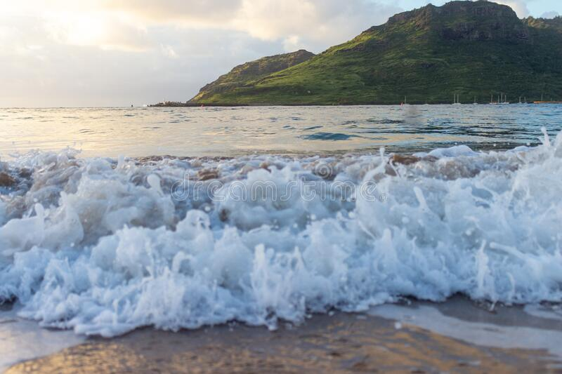 Dramatic ocean waves in Kauai, Hawaii royalty free stock images
