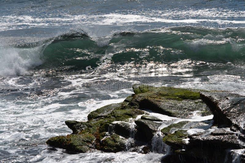 Ocean crashing waves charlestown beach winter. Sea water stock image