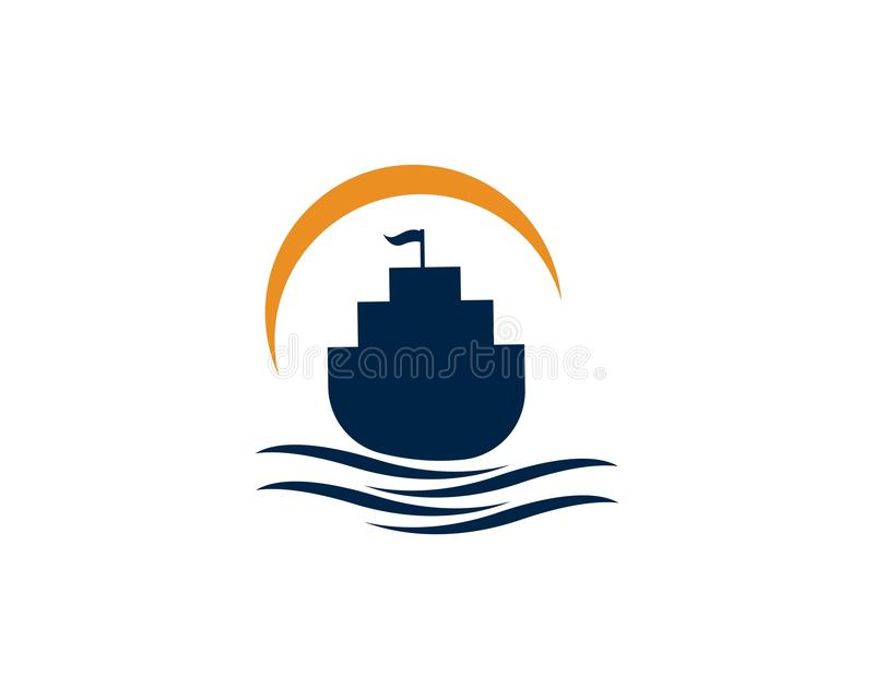 Ocean cruise liner ship silhouette simple linear logo vector. Ocean cruise liner ship silhouette simple linear logo icon isolated business label transport vector illustration