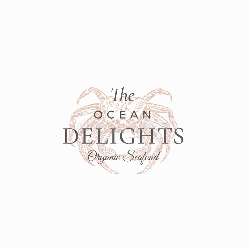 The Ocean Delights Abstract Vector Sign, Symbol or Logo Template. Elegant Hand Drawn Crab Sillhouette Sketch with Classy. Retro Typography. Vintage Luxury vector illustration