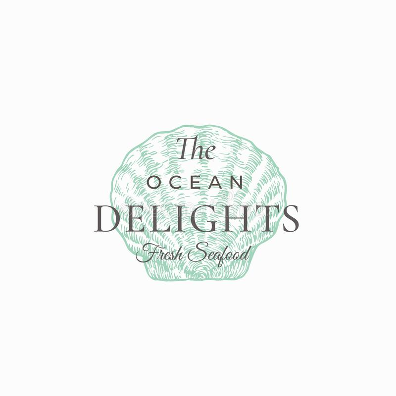 Ocean Delights Seafood Abstract Vector Sign, Symbol or Logo Template. Elegant Hand Drawn Scallop Shell Sillhouette. Sketch with Classy Retro Typography. Vintage vector illustration