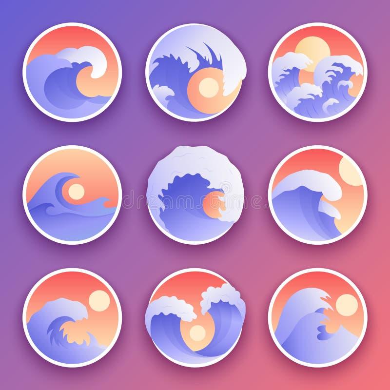 Ocean fala inkasowe Denne burza koloru fala Fala, wodni elementy ustawiający Natury fala wody burzy odznaki royalty ilustracja