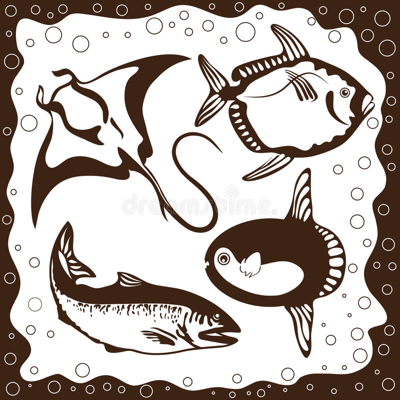 Free Ocean Fish, Vector Set Royalty Free Stock Images - 24456779