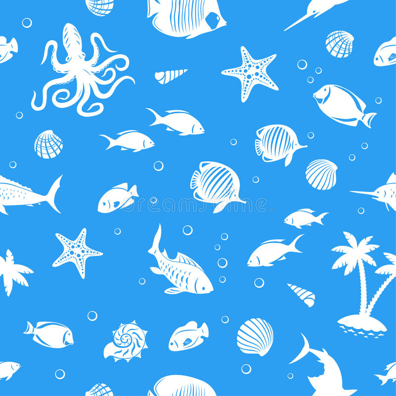 Ocean fishes seamles pattern. Sea life and fishes seamless vector background stock illustration