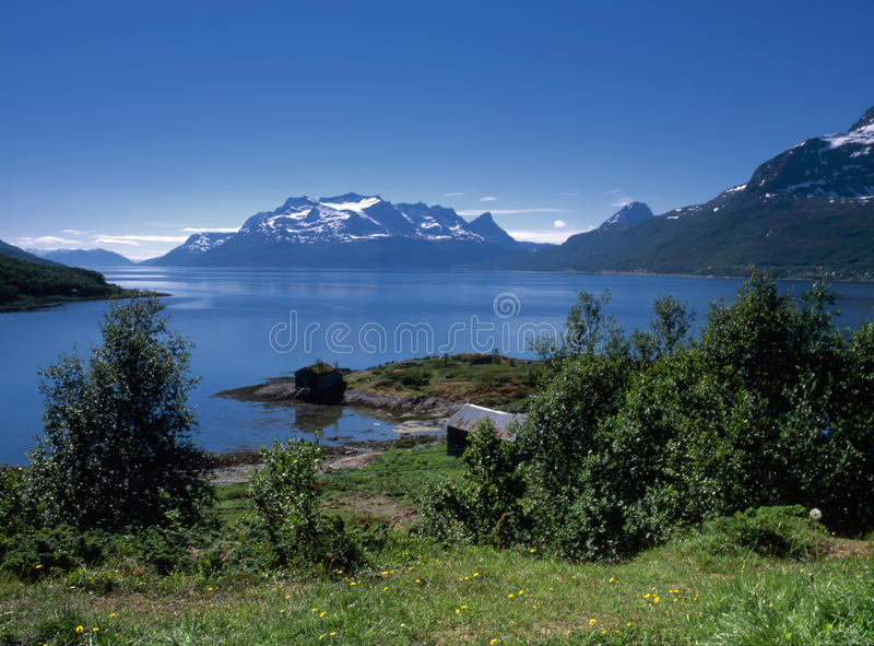 Ocean fjord in Norway royalty free stock photography