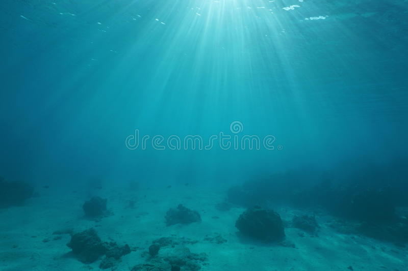 Ocean floor with sunlight through water surface stock photo