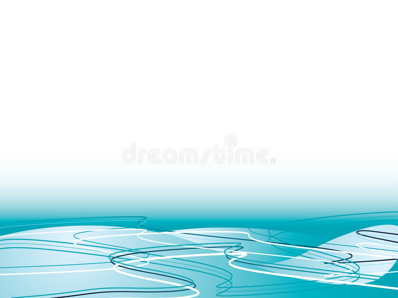 Ocean flow. Abstract ocean illustrated flow with wavy lines and plenty of copy space vector illustration