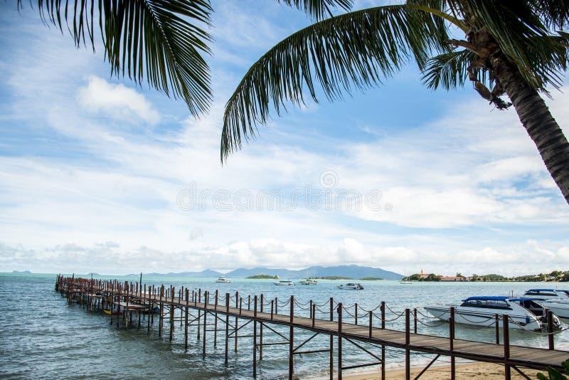 Ocean footbridge Boat Fisherman holiday beach Koh samui Thailand yacht stock photography