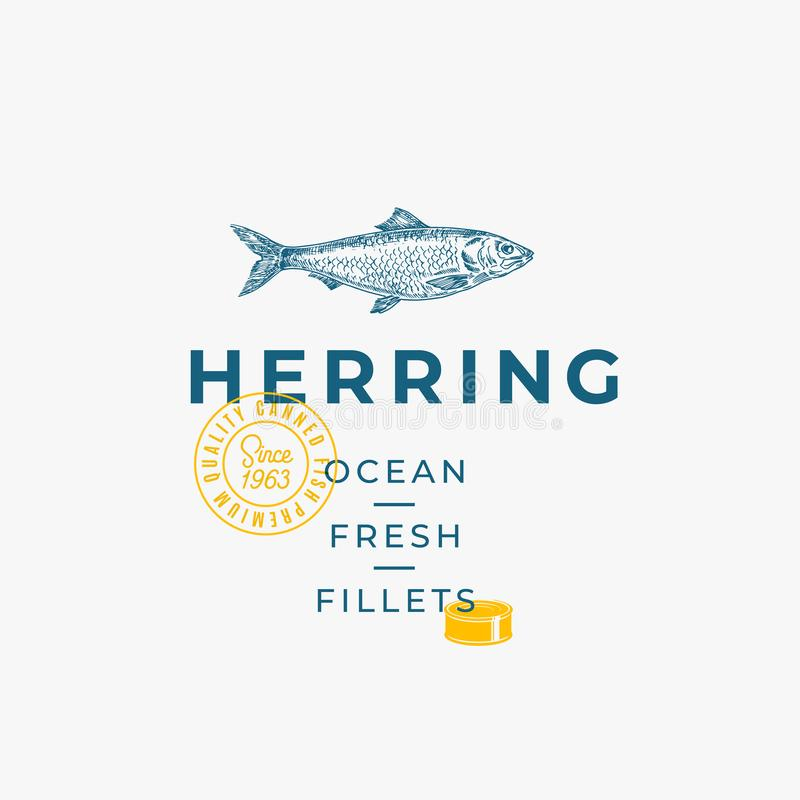 Ocean Fresh Fillets Abstract Vector Sign, Symbol or Logo Template. Hand Drawn Herring Fish Sketch with Premium Modern vector illustration