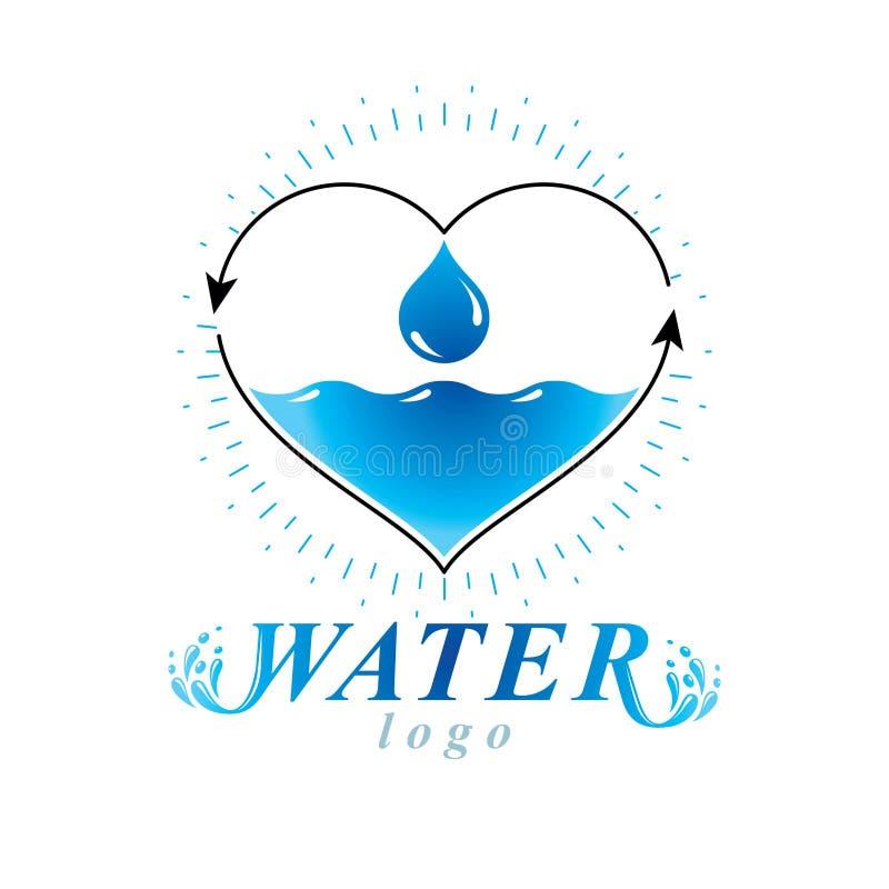 Ocean freshness theme vector logo. Water advertisement. Body cleansing concept. Ocean freshness theme vector logo. Water cleansing advertisement. Body cleansing stock illustration