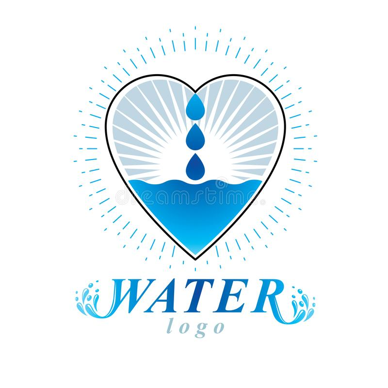Ocean freshness theme vector logo. Water cleansing advertisement. Living in harmony with nature concept royalty free illustration