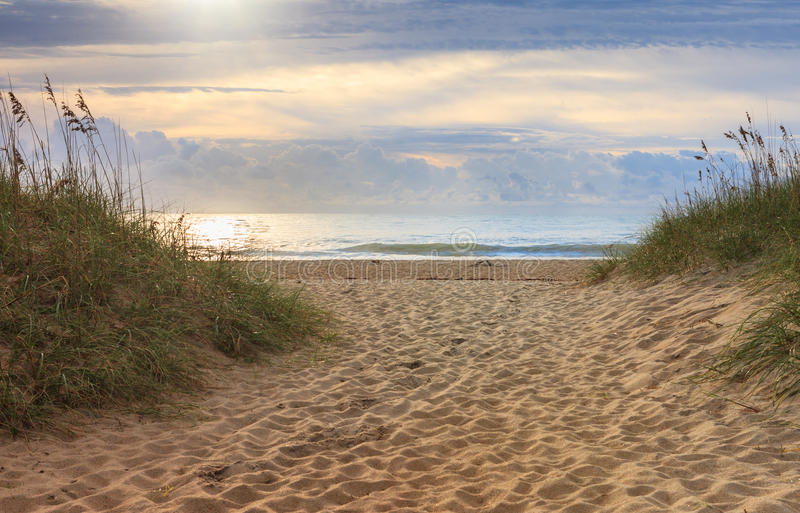 Ocean Front Outer Banks North Carolina. Background of a walkway between dunes onto the Outer Banks beach of the Cape Hatteras National Seashore in North Carolina royalty free stock image
