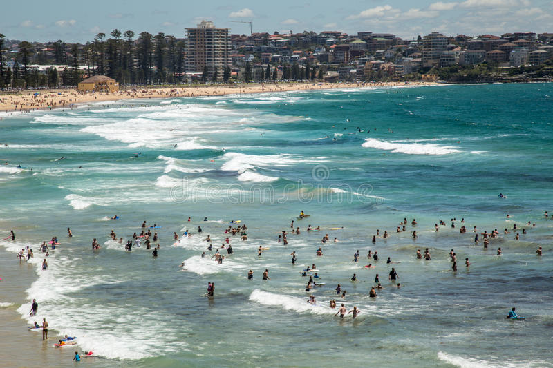 Ocean fun in Manly. Summer fun in the surf at Sydney's Manly Beach royalty free stock photography